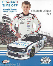 "2016 BRANDON JONES PROJECT TIME OFF ""DARLINGTON THROWBACK "" #33 NASCAR POSTCARD"