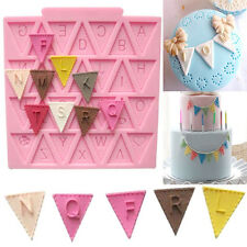Triangle Letter Flag Lace Silicone Mold Cake Decorating Baking Chocolate Mould