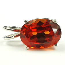 Created Padparadsha Sapphire, Sterling Silver Pendant, SP006