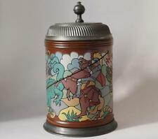 Vintage German Etched Beer Stein by Gerz St.George and the Dragon c.1986