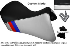 BLACK & WHITE CUSTOM M3 STRIPE FITS BMW R 1200 RT FRONT LEATHER LOW SEAT COVER