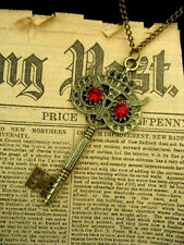 Vintage OWL KEY Necklace Pendant Antique Bronze Steam Punk  Rhinestone RedTattoo