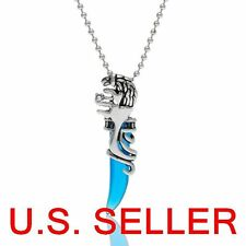 Stainless Steel Tribal Wolf aqua blue Tooth Pendant Necklace 1.96 ft Ball chain