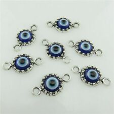 19971 30pcs Vintage Silver Blue Acrylic Evil Eye Pendant Connector for Bracelet