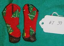 Brown & Red Christmas Cowboy Boots for Barbie Doll BT39