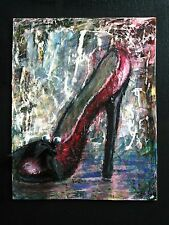 Original High Heel Vintage Red Shoe Black Bow Painting Abstract