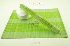 4 Bamboo Placemats Handmade Table Mats, White - Green Brown P030B