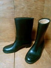 Vintage Womens Size 6 Black Rubber Rain Boots Waterproof Made in Usa Lined 9.5""