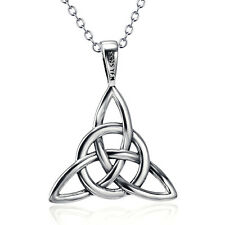 "925 Sterling Silver Celtic Luck Knot Triquetra Trinity Pendant 18""Chain Necklace"