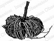 IO Grapevine Pumpkin Wood Mounted Red Rubber Stamp by Impression Obsession