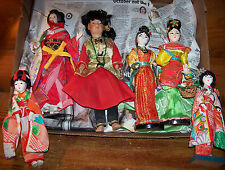 "Vtg.Geisha Dolls Set of 6 Beautiful Color Detailed Painted Faces 7-8-9"" Tall"