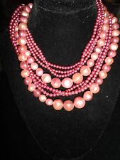 Faux Huge Purple Pearl Layered Necklace Vintage Antique Wedding Spring CHIC