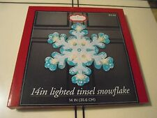 "14"" Lighted Blue & White Tinsel Snowflake Christmas Window Silhouette Decoration"