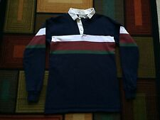 Vintage LL Bean Heavy Polo Shirt Long Sleeve sz L Freeport Maine USA Blue Rugby