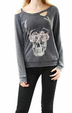 Chaser Women's Skull Print Pullover Cut Out Scoop Neck Grey Size S