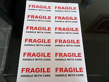 12  FRAGILE  HANDLE WITH  CARE   RED /BLACK   LABELS   STICKERS PER A4 SHEET