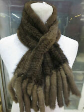 /New women 's  Fashion /real mink fur knitted Double tassel scarf /Brown