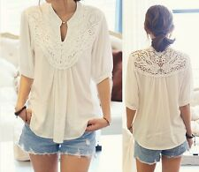 Celeb Women Loose Lace Splicing Crochet Flower 1/2 Sleeve Casual Blouse Top - LD