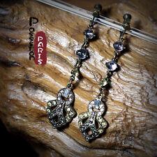 Boucles d`Oreilles Clips Fin Longue Art Déco Vitage Ancien Mariage Cadeau B1