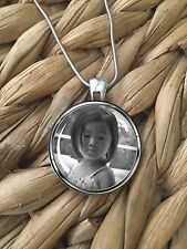 YOUR PHOTO Custom Personalized Picture Glass Pendant Silver Chain Necklace NEW