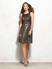 New Lovely by Adrianna Papell Jacquard Lace Fit & Flair Gold Metallic Dress sz 8