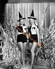 Two Vivacious Halloween Pin-up Girls - 1940s - Vintage Photo Print