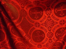 Red Black Renaissance Catholic Gothic Cross Acetate Brocade fabric By The Yard