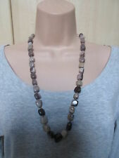Lola Rose Brown Grey Multi Semi Precious Stones Bead Necklace & Pouch NEW /BNWT