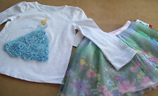 """DISNEY """"CINDERALLA"""" WHITE T-SHIRT ++ FLORAL SKIRT - 2PC OUTFIT SIZE 3T"""