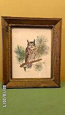 1748M Vtg Kessler 11x14 Print GREAT HORNED OWL Double SIGNED 75/300 Rustic Frame