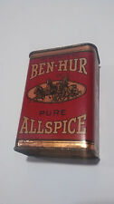 Vtg Ben Hur Pure Allspice Tin 2 oz Coffee Products America La Sd Free Shipping