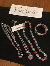 Viva  Jewelry Set  4 Piece SET 3 Necklaces  Triple Bracelet FABULOUS Colors L@@K
