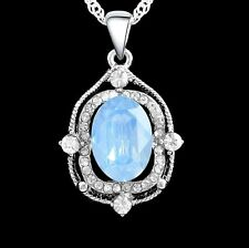 Pale Blue Oval Cubic Zirconia Silver Plated Pendant Necklace