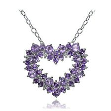 Sterling Silver Amethyst and African Amethyst Heart Cluster Necklace