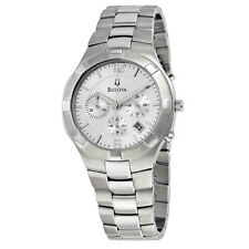 Bulova Chronograph Silver Dial Stainless Steel Mens Watch 96B146