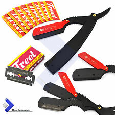 New Black Barber Hair Shaving Razor Straight Edge Folding Knife With 10 Blades