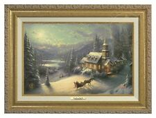 Thomas Kinkade - Sunday Evening Sleigh Ride – Canvas (Gold Frame)