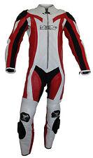 Mono de moto PIEL Protecciones S L XL XXL 50 52 54 56 58 1 PIEZA rojo blanco