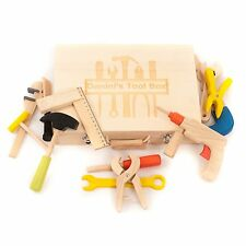 Personalised Engraved Wooden Toy Tool Box Baby Toddler Gift