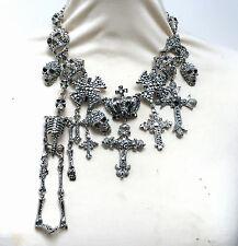Butler Y Wilson Cristal Esqueleto Cráneo Cruz medalla de plata NUEVO Collar De Corona