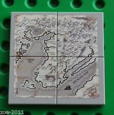 Lego 4x Light Bluish Grey Tile 2x2 Custom Printed Map Design NEW