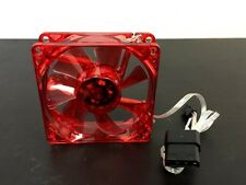 Red Quad 4x LED Light Quite Clear 80mm PC Computer Case Cooling Fan Mod Neon New