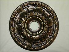 "STUNNING 19"" BRONZE ANTIQUE COPPER GOLD CHANDELIER CEILING MEDALLION WALL DECOR"