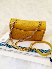 NWT AUTH TORY BURCH MINI FLEMING LEATHER/CHAIN STRAP SHOULDER BAG-YELLOW