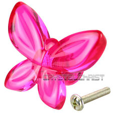 10pcs  Acrylic Fuchsia Butterfly Design Drawer Knob Pull Door Cabinet Handle