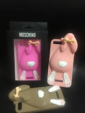 MOSCHINO Logo Arrampicata Rabbit Custodia iPhone 7 7 Plus/Baby Rosa Marrone-Nuovo in Scatola