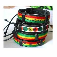 4 Pcs Men Women Hot Jamaica Reggae Bob Marley Rasta Hiphop Leather Bracelet