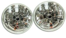 "7"" Black Dot Tri bar H4 Headlights With Turn Signal Push in Bulb lamps"