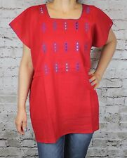 Red 100% Gauze Cotton Mexican Tunic Telar Hand loom Blouse Top Large