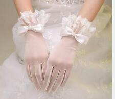Elegant Bridal Bow Short Wrist Sheer Lace Gloves for Wedding Party Prom Costume